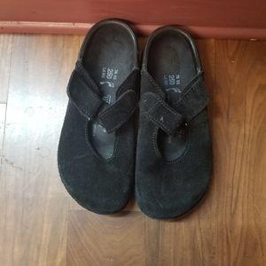 Tatami Birkenstock black suade leather Mules